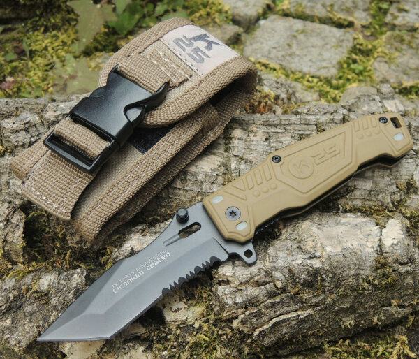 """K25 Messer """" Mohican II coyote """" Tanto Taschenmesser 440 Stahl + Nylonetui 19543"""