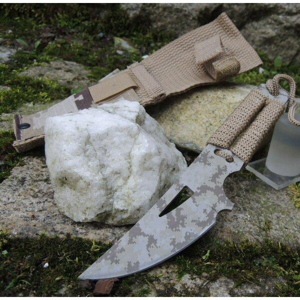 Albainox CAMO GRINDER Fixed Blade Messer Vollmetall Cord Wrapped Scheide 32415