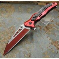 Albainox Messer Taschenmesser Linerlock Red Aluminiumgriff Clip  18442