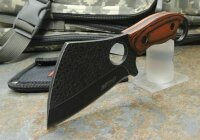 MTech Pocket Woodbuster Messer Cleaver Fixed Blade 3Cr13 Stahl Holzgriff Etui