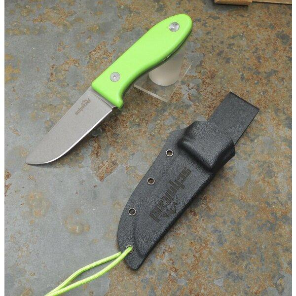 Schnitzel UNU GRÜN Messer Kindermesser Schnitzmesser 8Cr13MoV Stahl G10 Kydex