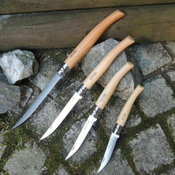 Opinel Messer SLIM LINE Taschenmesser Inox Buchenholz Virobloc 4 Varianten