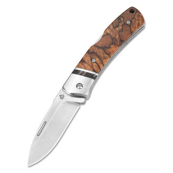 QSP Knife MUSTANG QS132 Messer Böhler M390 Stahl Maserpappelgriff Lockback Etui