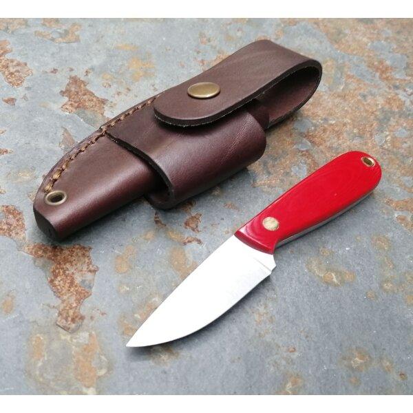 Brisa Necker 70 F ALICE Messer 12C27 Stahl Red Micarta Griff + Multicarryscheide