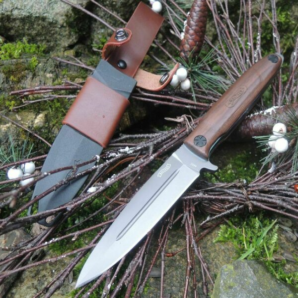 Walther Messer BWK 3 Blue Wood Knife Outdoor EDC Messer 440C Stahl Walnussholz