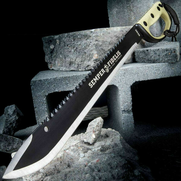 United Cutlery SEMPER FI MACHETE Messer Buschmesser Säge Sawback Scheide 62 cm