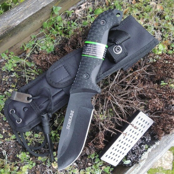 SCHRADE Messer SCHF51 Outdoormesser 1095 Stahl TPE-Griff + Scheide Feuerstarter